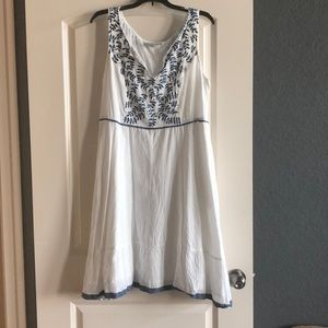 White with blue embroidery and trim sundress